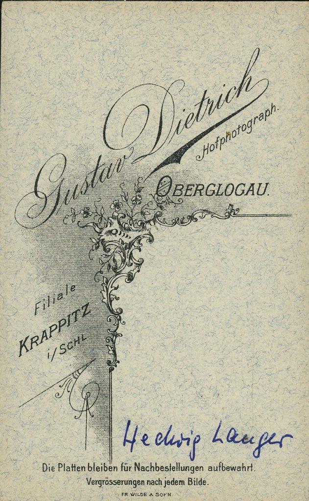 Gustav Dietrich - Oberglogau - Krappitz i.Schl.
