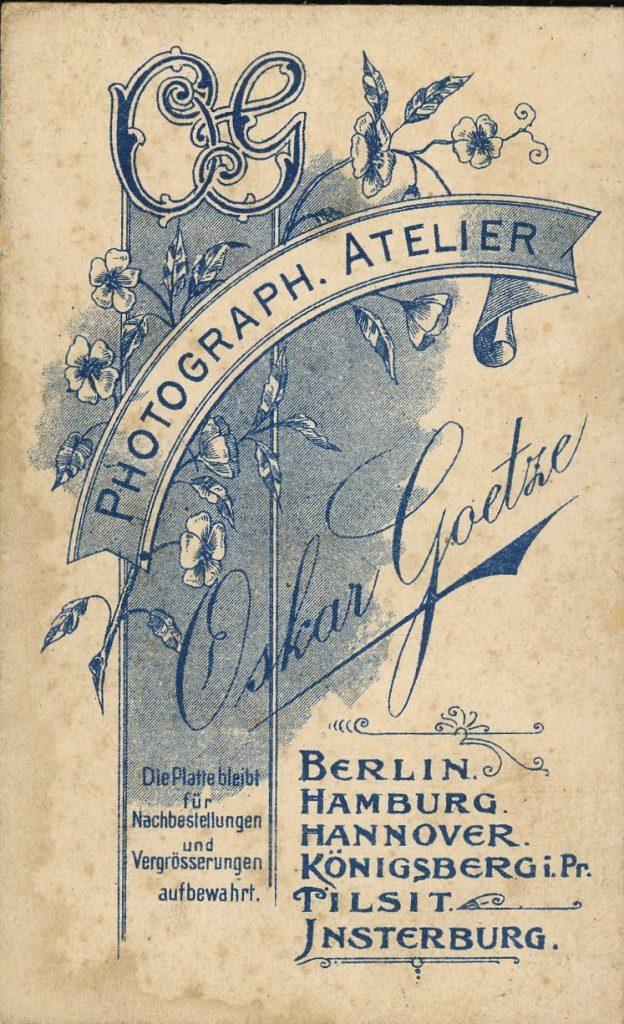 Oskar Goetze - Berlin - Hamburg - Hannover - Königsberg i.Pr. - Tilsit - Insterberg