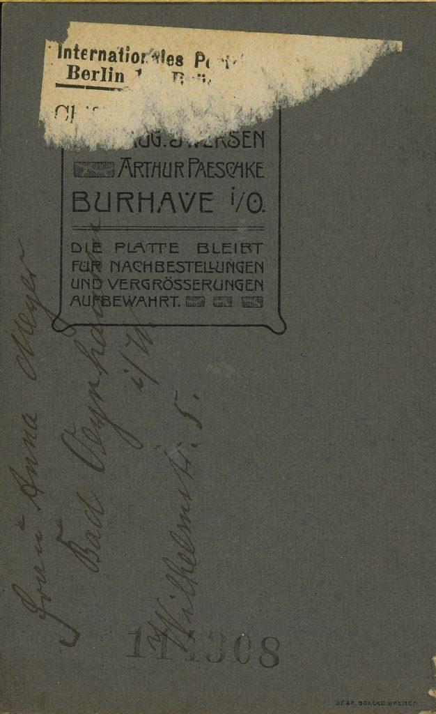 Arthur Paeschke - Aug. Iwersen - Burhave i.O.
