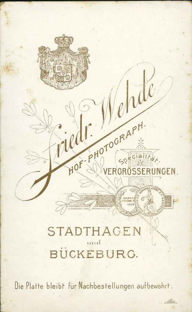 Friedr. Wehde - Stadthagen - Bückeburg